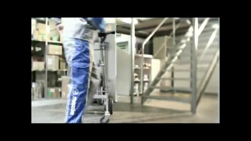 계단운반전동핸드카 HD 접이식보조바퀴 사용 예시