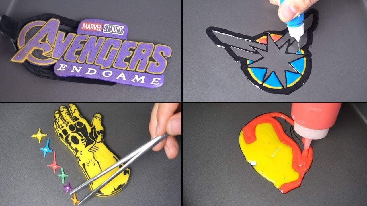 Marvel Avengers Endgame Pancake Art - Logo, Captain marvel, Ironman, Thanos, Captain america, Thor - 동영상