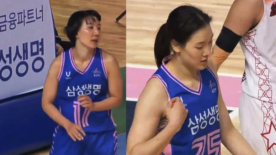 '연속 블록 성공' 골 밑을 든든하게 지키는 배혜윤-김보미